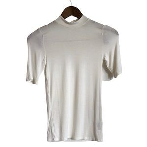 *3/$25* GARAGE Soft Stretchy Mock Neck Short Sleeve Fitted Tee Shirt Top White